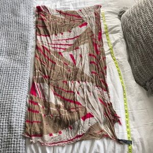 Express Tan & Pink Patterned Scarf